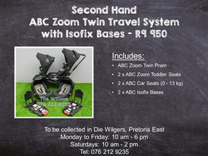 Second Hand ABC Zoom Twin Travel System with Isofix Bases