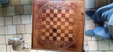 Beautiful antique wooden inlaid chess table for sale