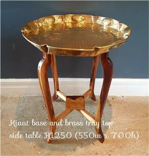 Kiaat base and brass tray top