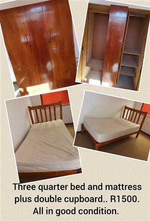 3 Quarter bed and double cupboard