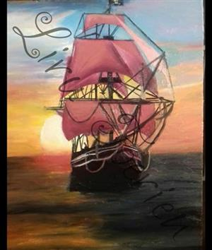 Sunset ship painting for sale