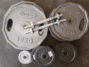Trojan Weights 99Kg + Barbell,Dumbbells Set.