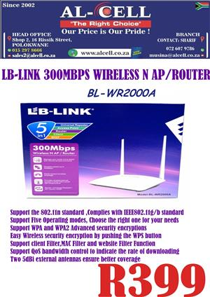 LB-LINK 300 Mbps Wireless N AP / Router BL-WR2000A