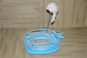 Cat toy stand with spring mouse and ball