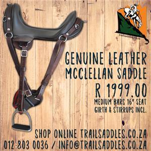 McClellan Leather Horse Saddle