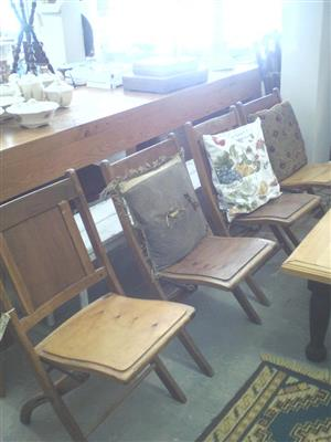 4 Wooden fold up chairs for sale