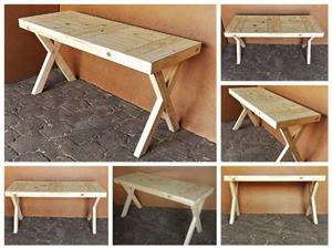 Study desk Chunky Farmhouse series 1500 with crossed legs - Raw