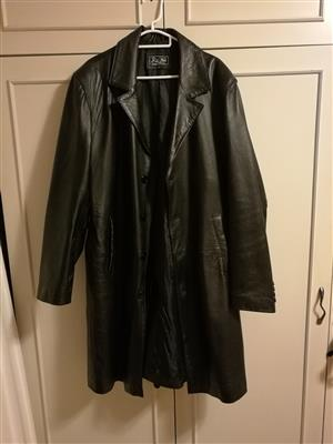 Black Leather Mens Trench coat