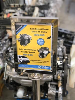 Fully Reconditioned Petrol & Diesel Engines suitable for Toyota Quantum