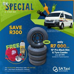 "ON SPECIAL - 15"" Aline Pro Black Rim and Bridgestone 613V 195/R15C Tyre COMBO"