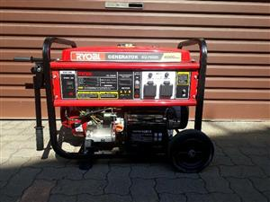 Ryobi 6.5 KVA Brand New Generator in the Box For Sale. Petrol Unit with key and rope start