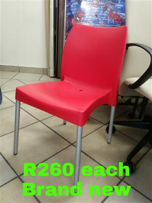 Plastic chairs in various colours
