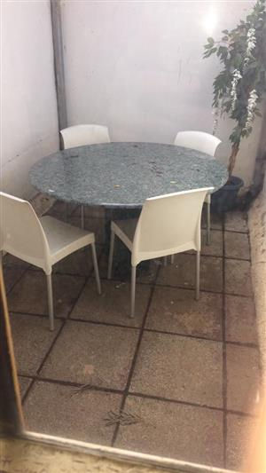 Take the set for R2000 marble top table and 4 chairs