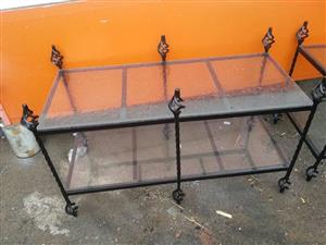 Vintage glass top table for sale