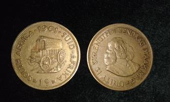 OLD 1961 SA RARE 1C COIN