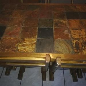 Log furniture 6 seater dining room set with slate tile top