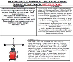 HD 3D AUTO TRACKING WHEEL ALIGNMENT MACHINE