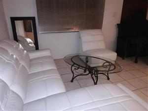 Genuine Italian White Leather Lounge Suite