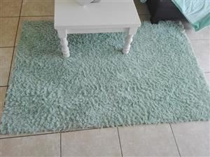 Duck egg/pastel blue fluffy carpet.