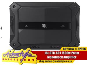 JBL GTR-601 1500w 2ohm Monoblock Amplifier   General Specifications Peak Power 1500W Audio Specifications 2-Ohm Power Output 600Wrms x 1,