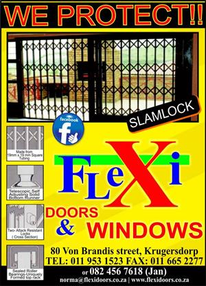 Trelli gates, Flexi Doors, Slam-lock, burglar bars, spanish bars, horisontal bars, solar power stands