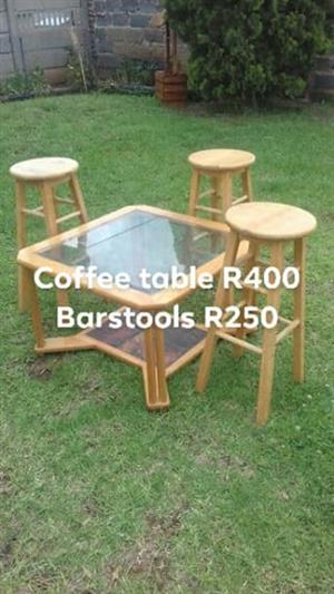 Coffee table and bar stools