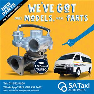 NEW Turbo 2KD 2.5 Diesel suitable for Toyota Quantum - SA Taxi Auto Parts quality spares