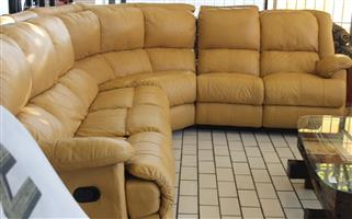 L-shape leather couch S029955A #Rosettenvillepawnshop