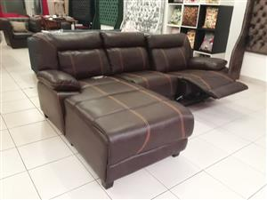 Leather couch with a recliner for sale