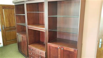 Mahogany finish display unit