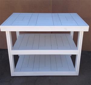 Kitchen Island Farmhouse series 1235 mobile with 2 shelves - White washed