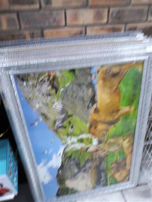 Silver glitter framed paintings