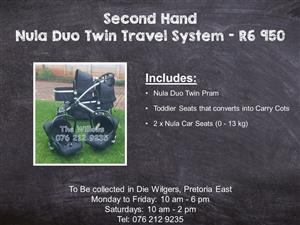 Second Hand Nula Duo Twin Travel System