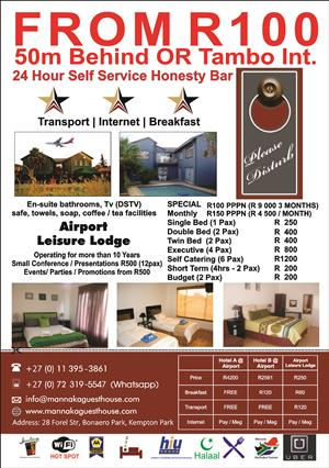 Accommodation from R100 50m behind OR Tambo Airport
