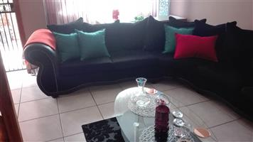 Black leather and material corner set