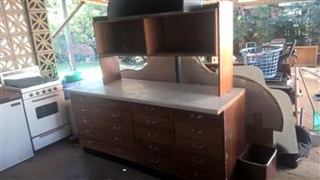 Drawer units with solid wood top and shelf