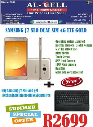 SAMSUNG Galaxy J7 Neo Dual Sim Gold + Free Rechargable Bluetooth Key Board