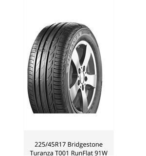Bridgestone Turanza  225/ 45 R17  +-75 % thread Runflat  Selling as a set of 4