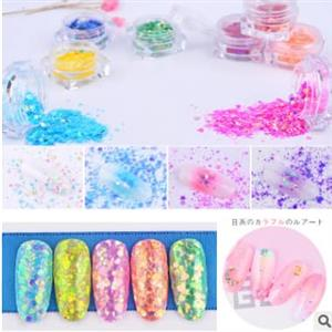 Various colored nail glitter flakes