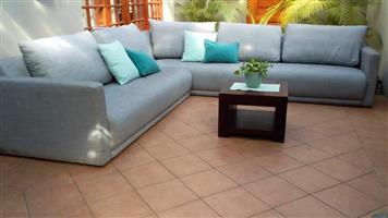 CORICRAFT SPENCER CORNER COUCH - ATHOLL PEBBLE COLOUR, FULLY UP, 2 piece CORNER SUITE. BRAND NEW