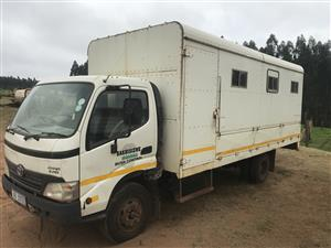 Two Dyna 8-195 (5ton 2006/2009) labour carrier trucks for sale due to close of contract