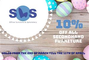 10% off all secondhand furniture from second of march till the eleventh of April .