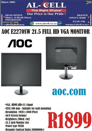 "AOC E2270SW 21.5"" Inch Full HD VGA HDMI Monitor"