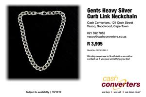 Gents Heavy Silver Curb Link Neckchain