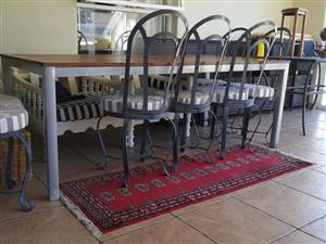 Aluminium/TEAK table plus 6 French galvanised outdoors chairs for sale
