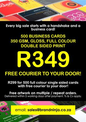 Print cape town in all ads in gauteng junk mail r349 for 500 business cards full colour double sided free courier reheart Gallery