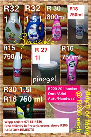 Whatsapp order:0711814886  This pricelist replace all previous adverts. Free delivery above R250 in Pretoria/Centurion Please note factory rejects. Delivery every Saturday in Pretoria to your door or work.If you take 5 or more 20 l washing powder you only pay R200.
