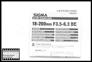 User Manual - Sigma DC 18-200mm f/3.5-6.3