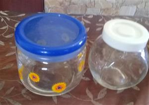 2 GLASS TEA CONTAINERS