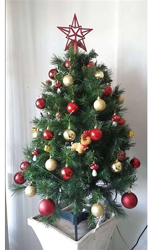 Christmas tree with fairy lights and decorations